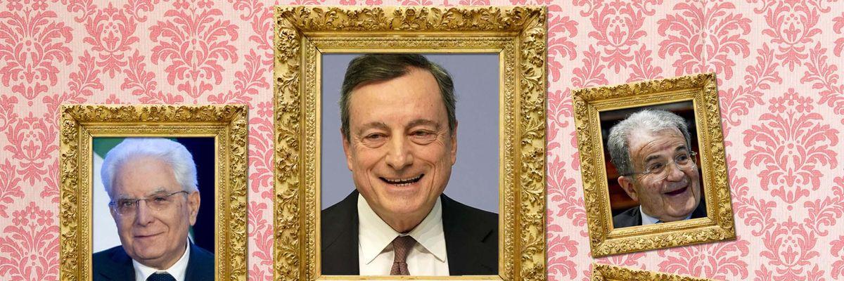 Sergio Mattarella, Mario Draghi, Romano Prodi, Dario Franceschini
