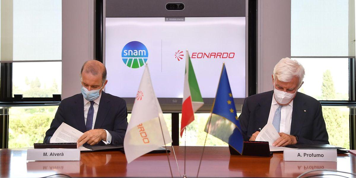 Leonardo e Snam siglano un accordo per lo sviluppo di tecnologie innovative