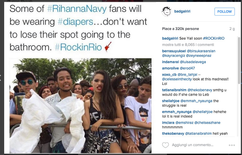 Fan di Rihanna col pannolone