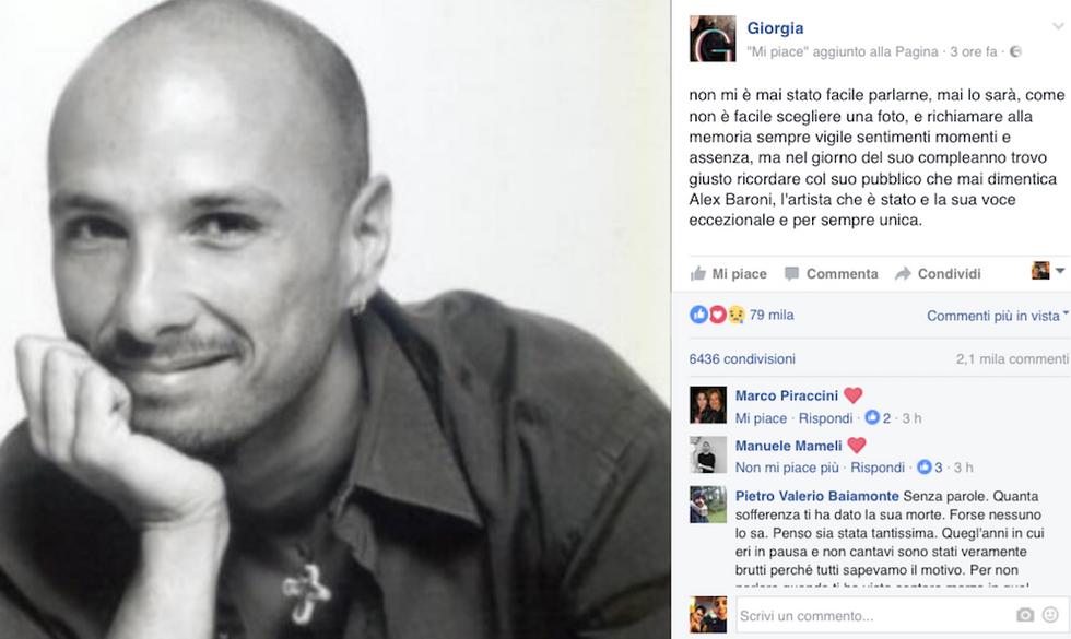 """Giorgia ricorda Alex Baroni: """"Oggi avrebbe compiuto 50 anni"""""""