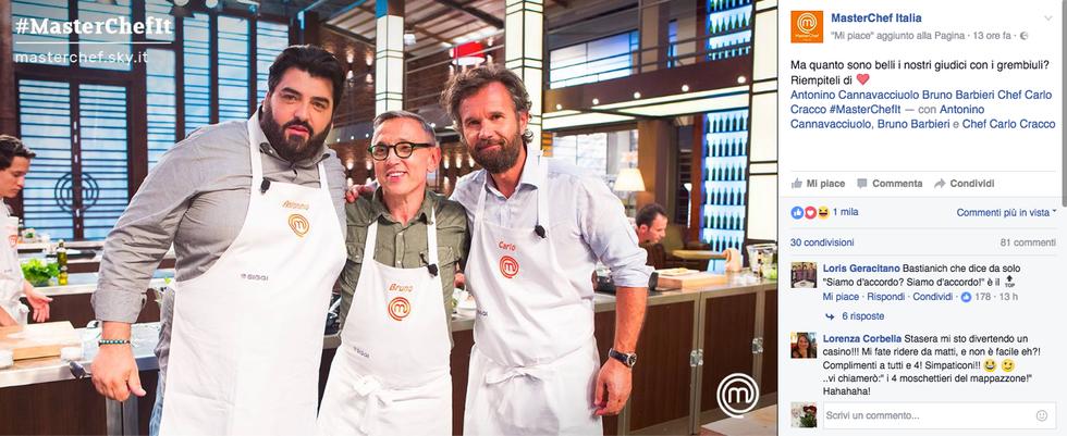 I tre chef con i grembiuli di MasterChef