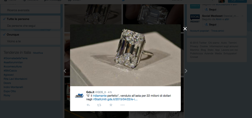 Il diamante perfetto battuto all'asta per 22 milioni di dollari