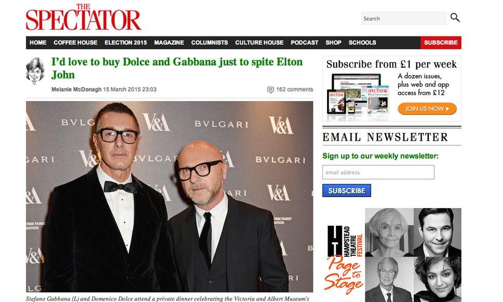 """The Spectator: """"Grazie a Dio per Dolce e Gabbana!"""""""