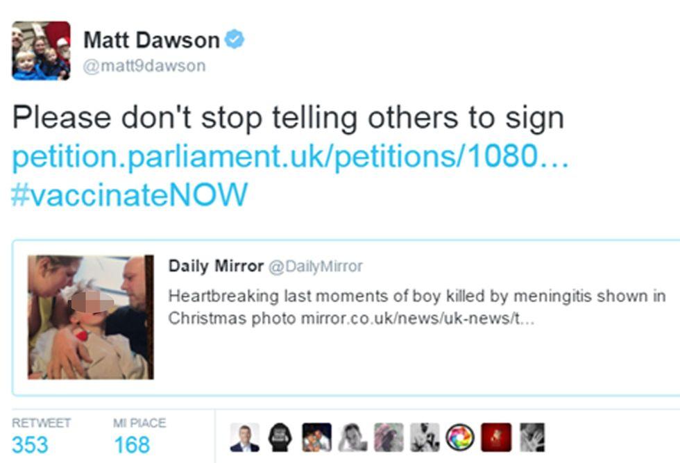 Su Twitter la foto choc del bimbo inglese morto di meningite
