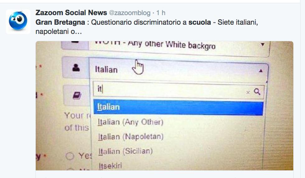 Il questionario inglese che discrimina gli italiani