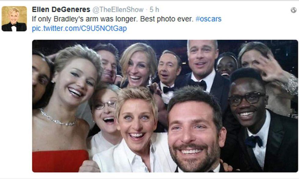 Oscar 2014, il selfie di Ellen DeGeneres è da record