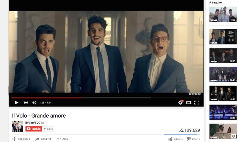 """Il video di """"Grande Amore"""" de Il Volo ha raggiunto i 55 milioni di visualizzazioni"""