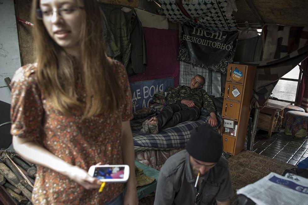 Vita quotidiana in Piazza Maidan, Kiev
