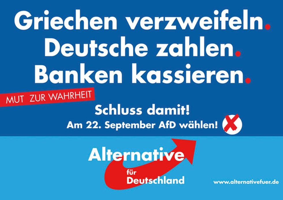 Verso il successo il partito tedesco che vuole Italia, Spagna, Grecia e Portogallo fuori dall'euro