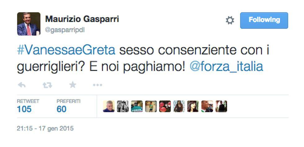 Il tweet di Maurizio Gasparri su Vanessa e Greta