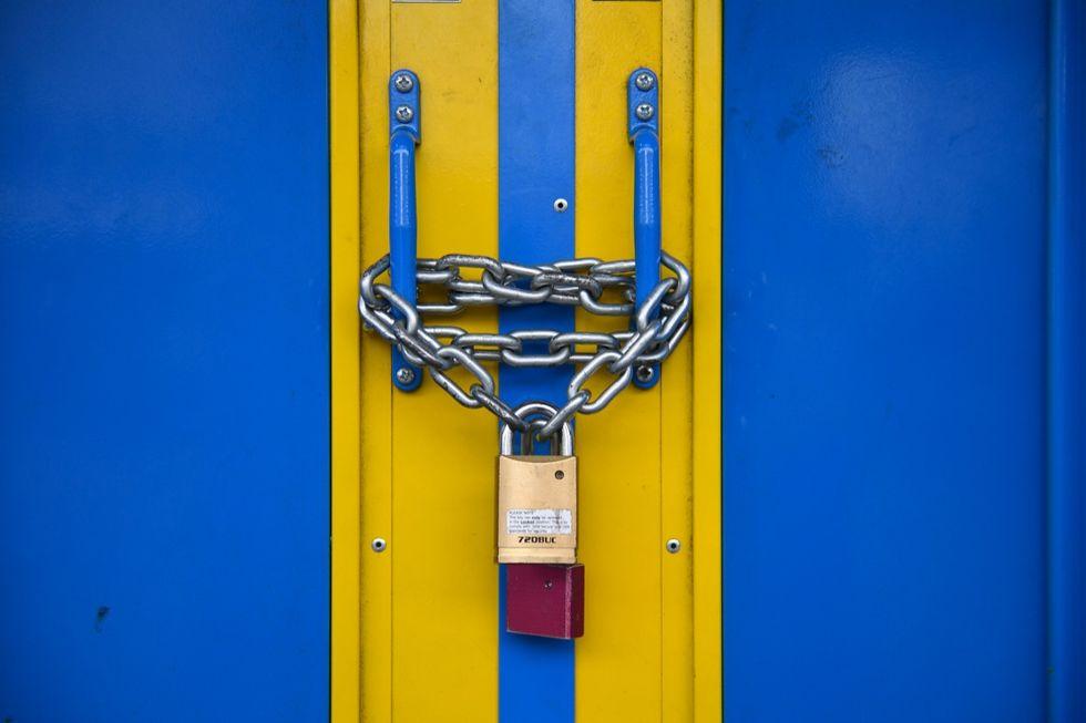 The doors of Brixton Underground