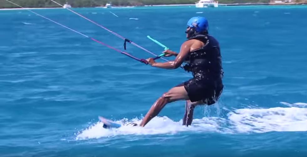 Barack Obama e Richard Branson, kitebord alle Isole Vergini