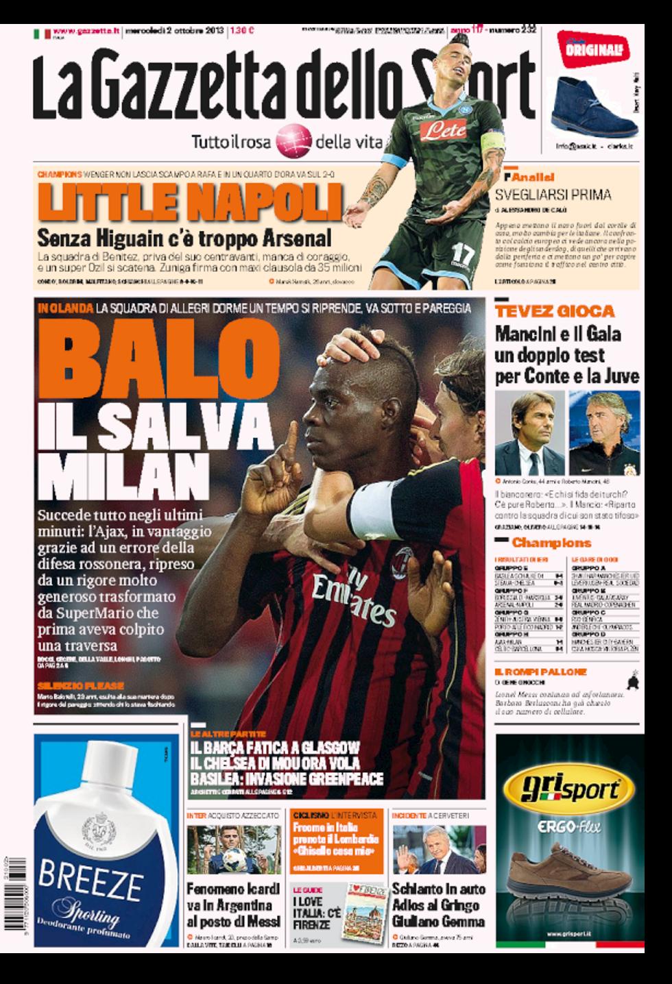 RASSEGNA - Balo salva Milan e il Napoli k.o.
