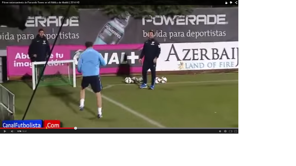 Torres: primo allenamento con l'Atletico