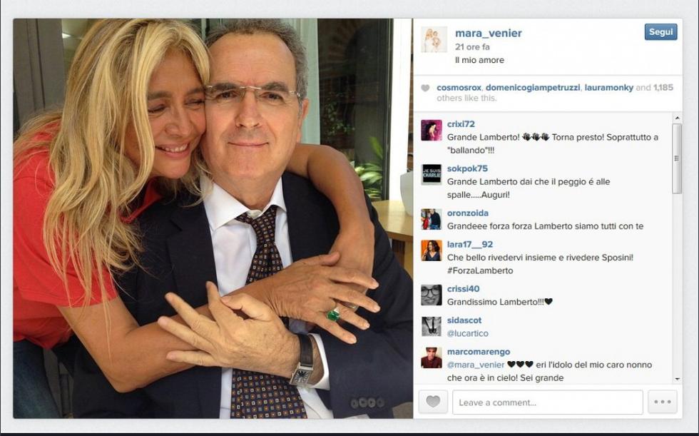 Lamberto Sposini in foto con Mara Venier: il giornalista sta meglio