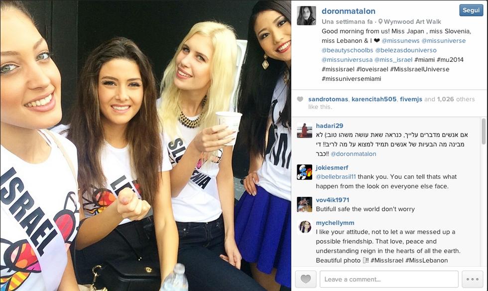 Miss Libano, Miss Israele e il selfie della discordia