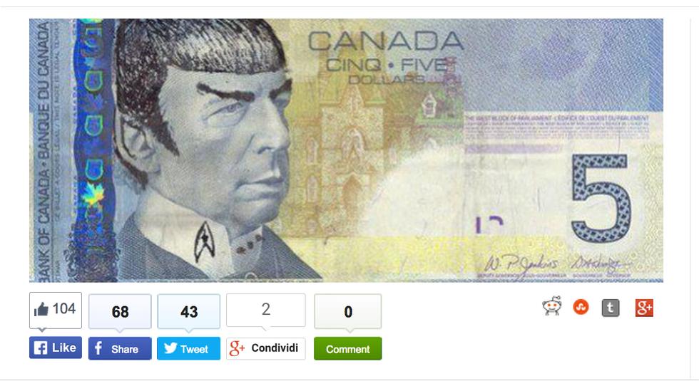 """In Canada le banconote da 5 dollari diventano un """"omaggio"""" al Dottor Spock"""