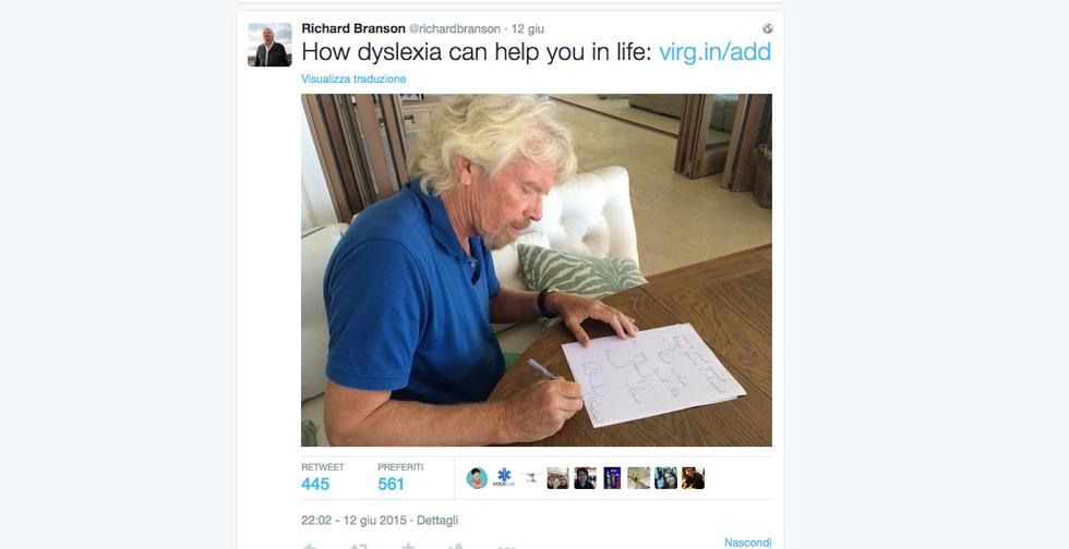 Richard Branson e la lettera alla bambina dislessica