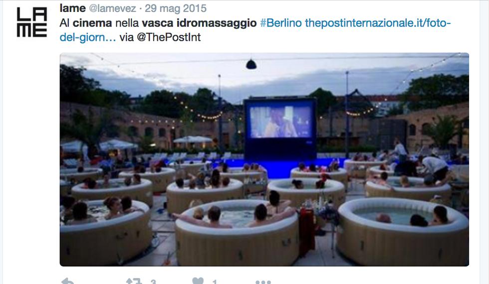 Berlino - cinema sotto le stelle in vasca idromassaggio