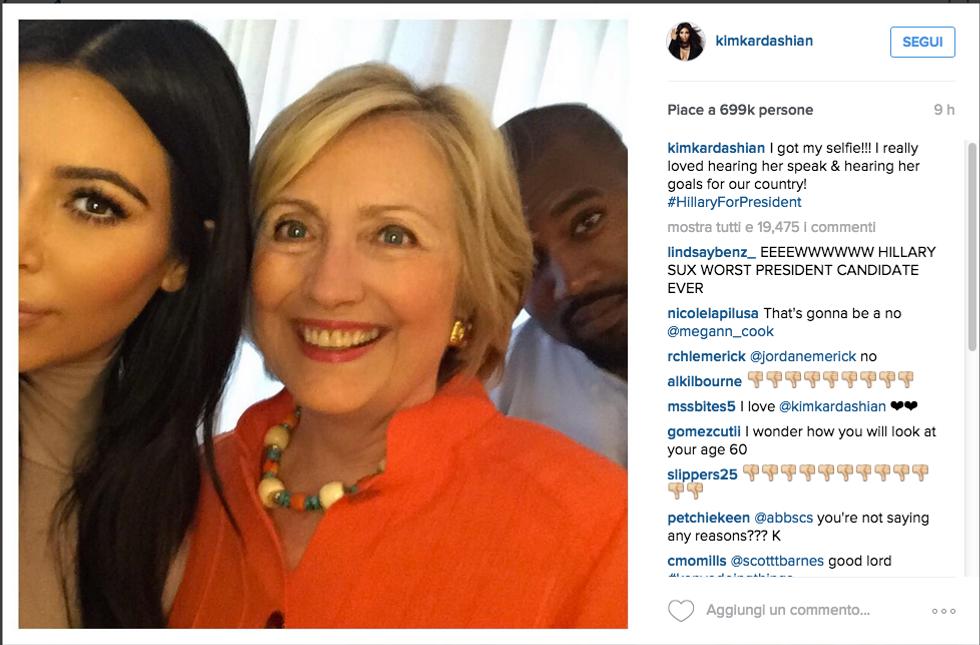 Kim Kardashian con Hillary Clinton