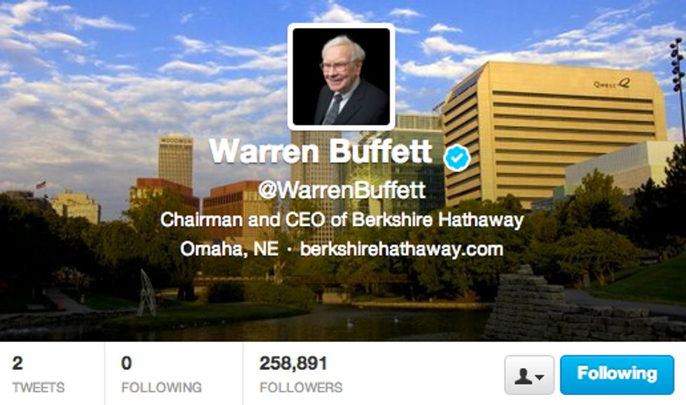 Warren Buffett su Twitter: ora ci sono anch'io