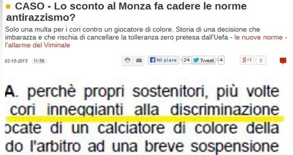 Monza e il razzismo con lo sconto: ha vinto Panorama
