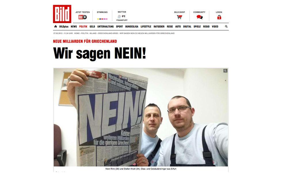 I selfie anti-Grecia dei tedeschi della Bild