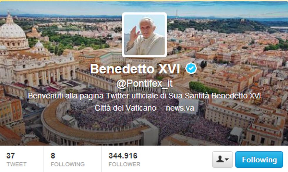 Il saluto di Benedetto XVI via Twitter