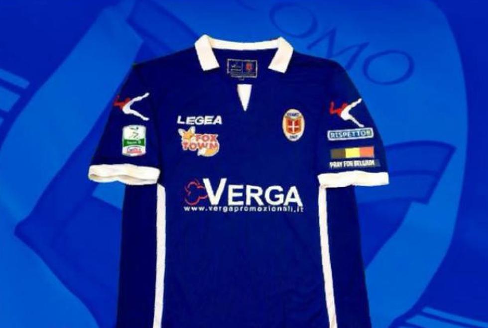 Serie B: il Como indosserà una maglia in memoria delle vittime di Bruxelles