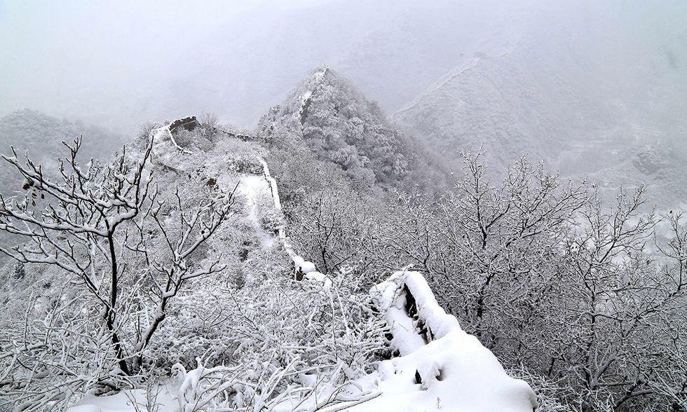 La neve sulla Grande muraglia