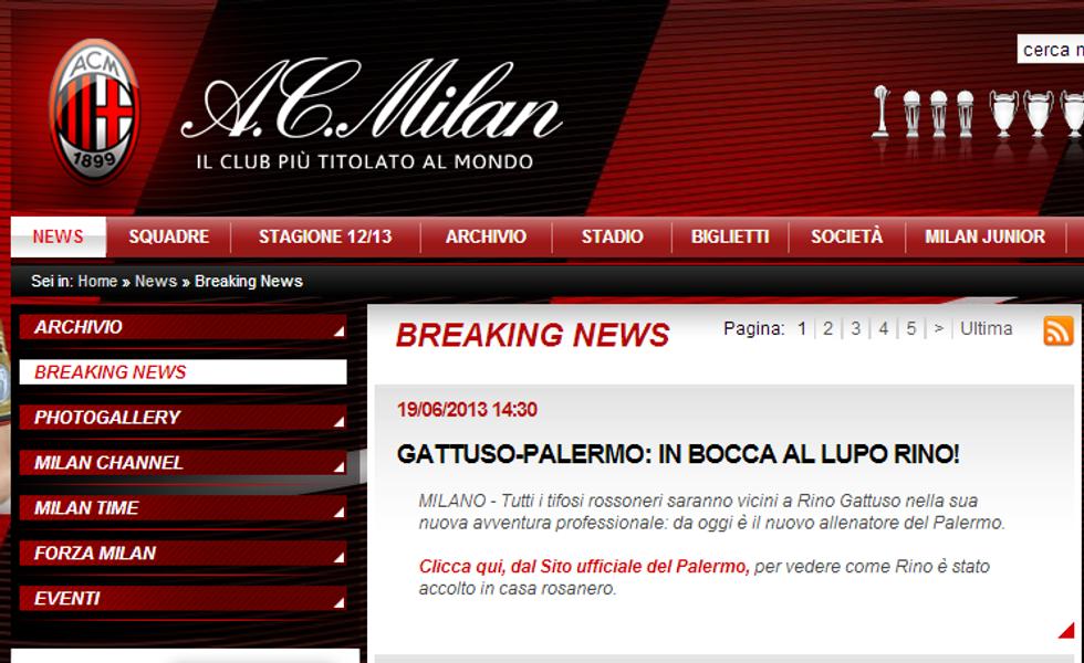 Il Milan fa gli auguri a Rino Gattuso