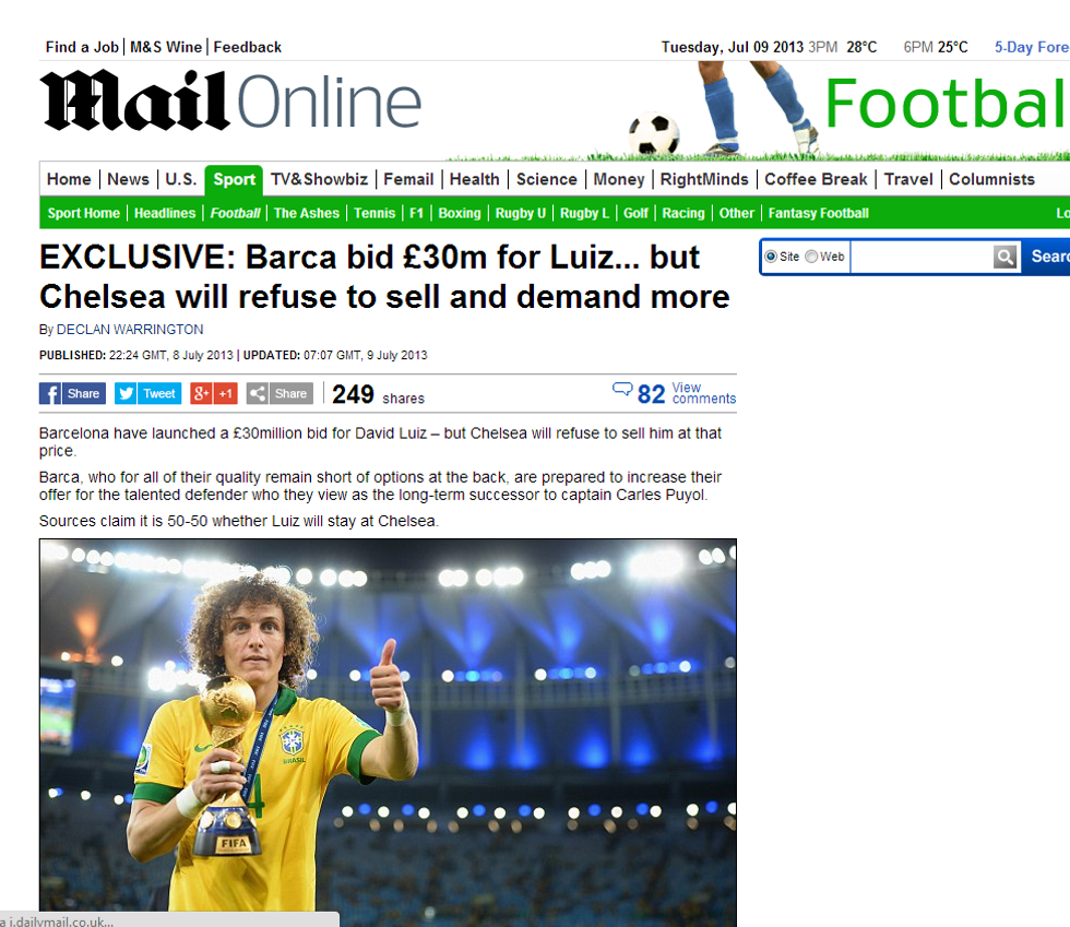 Barcellona: pronta una maxi offerta per David Luiz