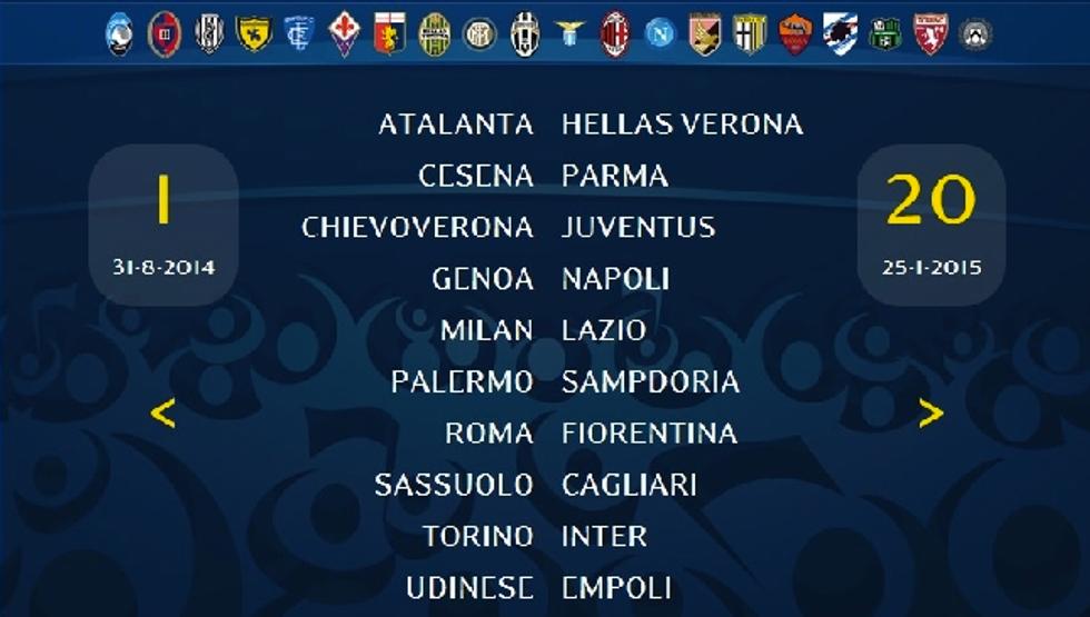 Ecco il calendario della serie A 2014-2015