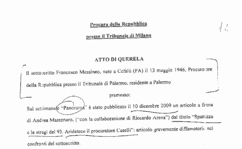Caso Mulé: la querela di Francesco Messineo