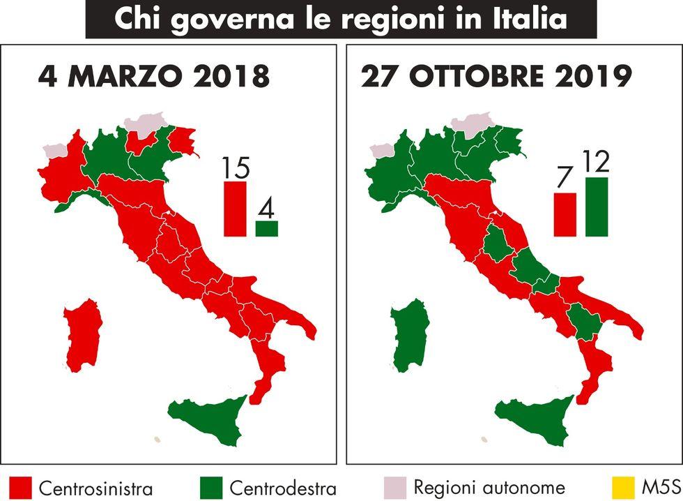 mappa regioni Italia politica