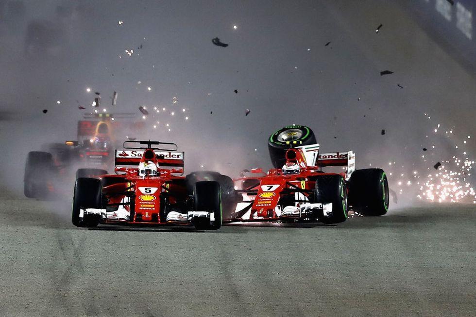 Mondiale formula uno 2017 ferrari vettel hamilton incidente singapore
