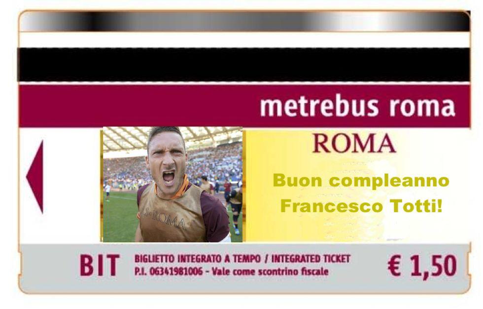 Roma: biglietti della metro con Totti per il suo 39° compleanno
