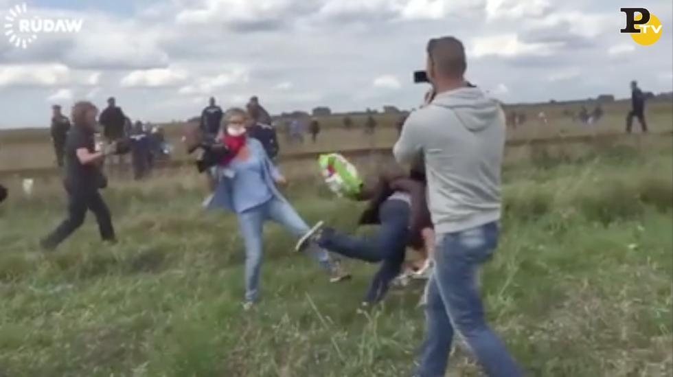 reporter ungherese sgambetto profugo